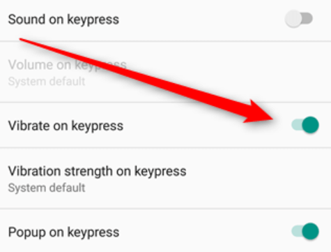 How to turn off keyboard vibration on Android